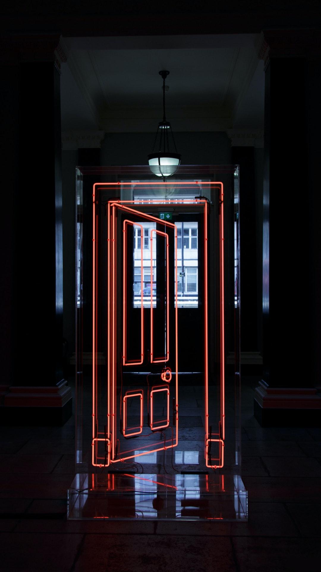 & Neon Door Installation by Gavin Turk - Electric Objects