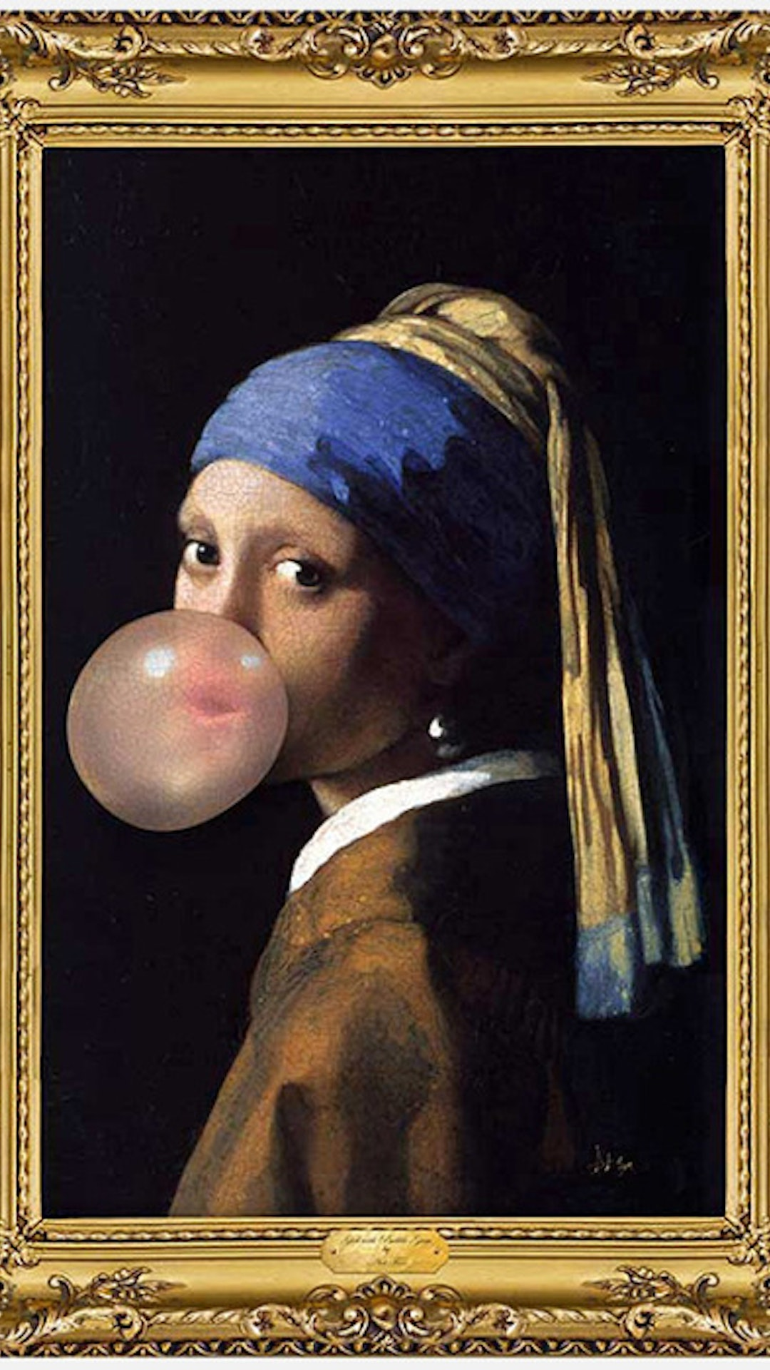 Girl With A Pearl Earring With Bubble Gum By Unknown  Electric Objects